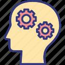 brain questions, brainstorming, innovation, mental interrogation icon