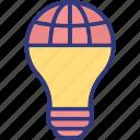idea and globe, global innovation, global technology, global idea icon