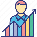 businessman promotions, career growth, career promotion, job improvement icon