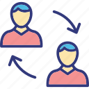 employee change, professional switching, staff replacement, staff turnover icon