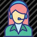 call center, customer service, female operator, hotline icon