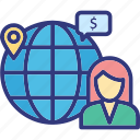 global business woman, global employee, international investor, internet user icon