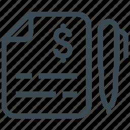 bill, invoice, receipt, report, sales icon