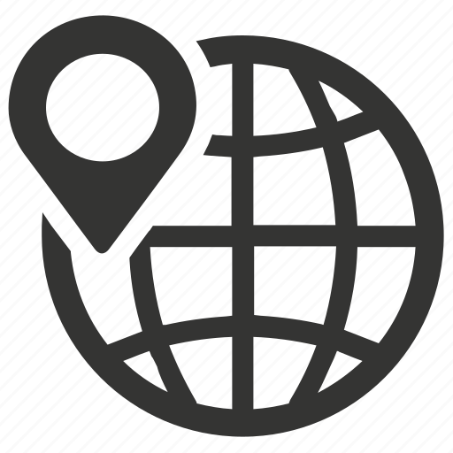 global, international, location, pin icon