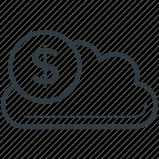 business, cloud, cloud computing, dollar, icloud icon