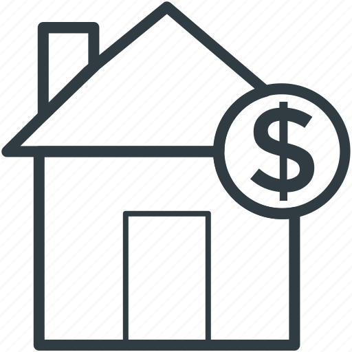 dollar, home, house, house for sale, property icon
