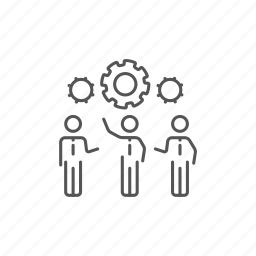 businessmen, creative, gears, idea, organization, partnership, teamwork icon
