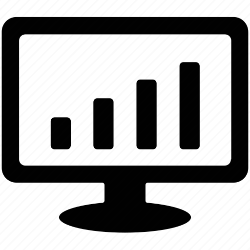 bar chart, bar graph, chart, displaying graph, monitor icon