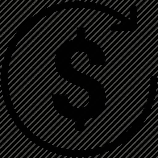 business, dollar, market value, money value, reload sign icon