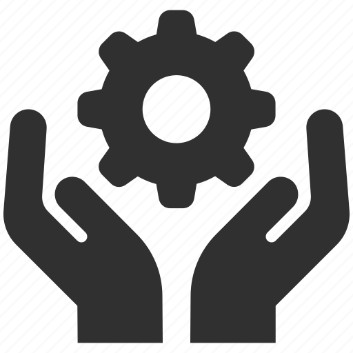 business service, cog, gear, holding gear, service, service provider, support icon