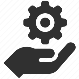 cog, customer service, gear, holding gear, service, support, support service icon