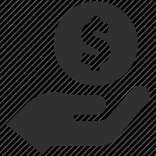 cash, coin, deposit, dollar, finance, holding money, money icon