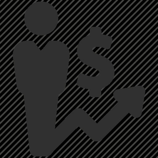 analytics, businessman, dollar, finance, money, sales, sales report icon