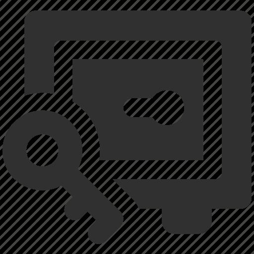 key, key to safe, locked safe, safe, safe access, safe key icon