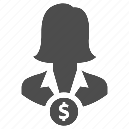 business, earnings, finance, income, manager, money, woman icon