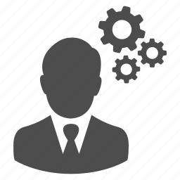 businessman, cogs, control, gear, gears, process, thinking icon