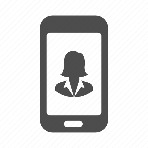 account, business, person, phone, user, woman icon