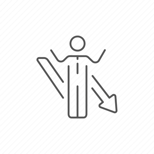 arrow, businessman, collapse, confusion, down, fall, problem icon