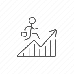 businessman, financial, growing, increase, progress, recovery, success icon