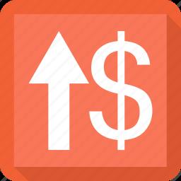 arrow, dollar, up, upload icon