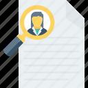 curriculum, cv, document, portfolio, profile, resume, search icon