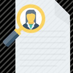 curriculum, cv, document, portfolio, profile, resume, search icon icon