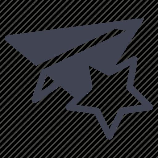 aeroplane, bookmark, business, favorite, paper, star icon