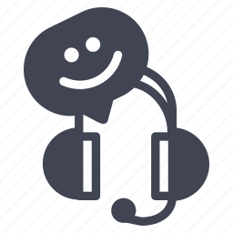 business, emoji, happy, headset, smile, smiley icon