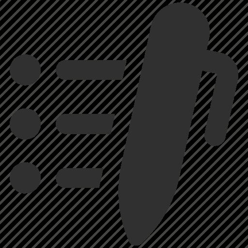 bullet list, checklist, list, notes, pen icon
