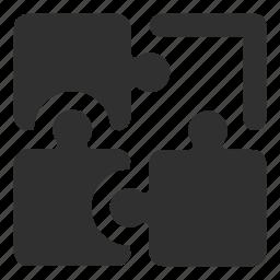business solution, problem solving, puzzle, puzzle pieces, solution, teamwork icon