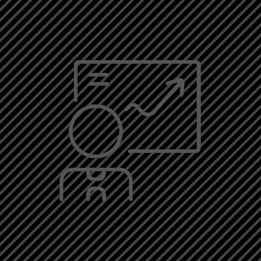 arrow, businessman, improvement, infographic, plan, presentation, success icon