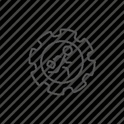 gear, inside, leadership, man, progress, running, workforce icon