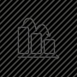 arrow, bar, chart, down, economy, financial, info icon