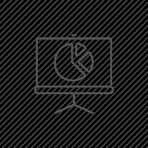 chart, infoprogress, pie, presentation, roller, screen, seminar icon