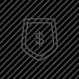 budget, dollar, economy, insurance, keeping, safe, shield icon