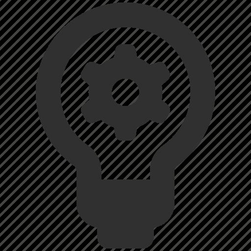 bulb, concept, gear, idea icon