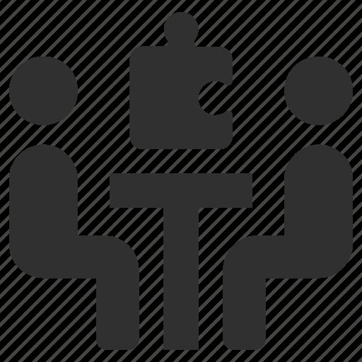 agreement, communication, group work, meeting, puzzle piece, team work, teamwork icon