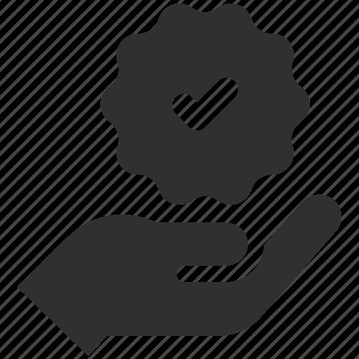 badge, holding badge, premium quality, quality, verified icon