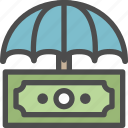 budget, investment, protection, secure, security, shield, umbrela icon