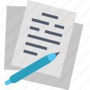 agreement, business, contract, document, paper, pen, sign icon
