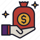 bag, bonus, give, money, prize, receive, salary icon