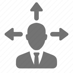 arrows, avatar, businessman, direction, idea, posibility, user icon