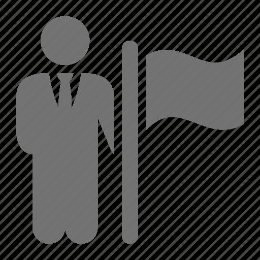 ambassador, businessman, delegate, flag, holding, loyalty icon