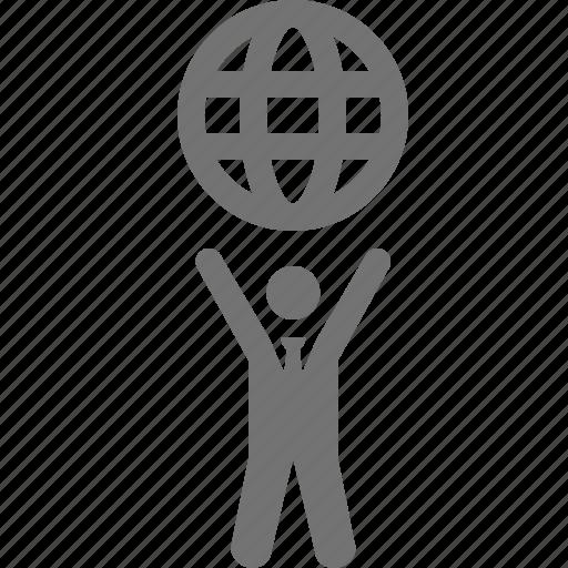 businessman, globe, holding, power, success, world icon