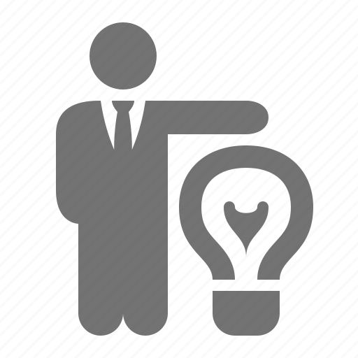 bulb, businessman, idea, invention, light, patent, solution icon