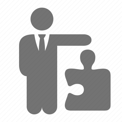 businessman, offer, piece, problem-solving, puzzle, solution icon