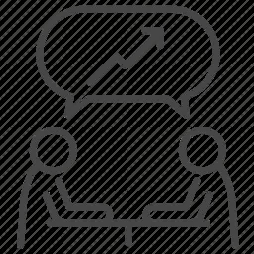businessman, discuss, marketing, meeting, people, talk icon