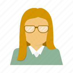 avatar, business, corporate, glasses, person, secretary, woman icon