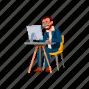 man, bearded, businessman, searching, job, internet, people