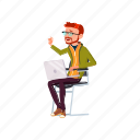 man, geek, sitting, chair, laughing, from, people